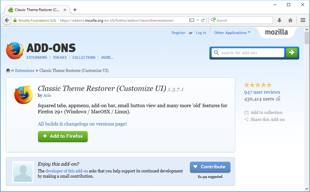 Restore Firefox Buttons with Text